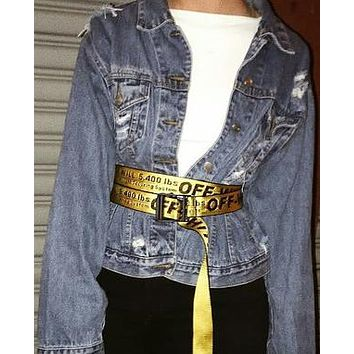 OFF-WHITE Tide brand men and women pin buckle canvas belt yellow