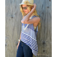 Sandusky Blue & White V Neck Top