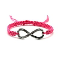 Fuchsia with Silver One Direction Infinite Directioner Iced Out Infinity Lace Bracelet
