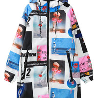 White Digital Picture Letter Print Quilted Lining Hooded Jacket