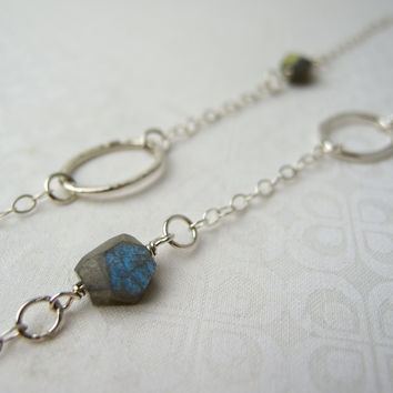 Long Sterling Silver Labradorite Necklace, Silver Necklaces For Women