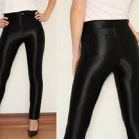 High Waisted Jeggings in Shiny Black