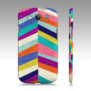 Geometric Samsung Galaxy S3 case, Galaxy S4 case, colorful chevron pattern design, trendy, mid century modern art for your phone