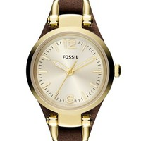 Women's Fossil 'Small Georgia' Leather Strap Watch, 26mm