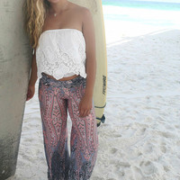 Vacation In The Sun Gray & Pink Printed Palazzo Pants