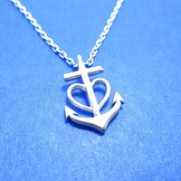 Classic Anchor and Heart Shaped Charm Necklace in Silver from DOTOLY