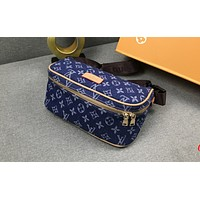 LV Hot Selling Women's Color Single Shoulder Bag Fashion Shopping Bag Sapphire blue