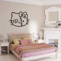 Hello Zombie Kitty - Removable Vinyl Wall Decal Art - Girls Room or Boys Room Vinyl Decoration - Choose A Size!