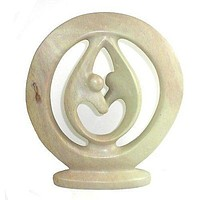 Natural Soapstone 6-in Lover's Embrace African Art Sculpture