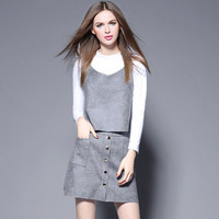 Fashion 2016 Trending Fashion Knit Leather Women High Collar Neck Shorts Top _ 9392