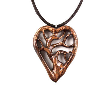 Wooden Heart Necklace, Wooden Heart Pendant, Tree of Life Necklace, Wooden Tree of Life Pendant, 5th Anniversary Gift, Tree of Life Jewelry