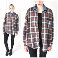 early 90s GRUNGE flannel shirt 1990s vintage UNISEX button up red plaid + DENIM collar oxford shirt os
