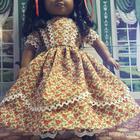 """Historical 18 inch doll clothes """"Red Red Roses"""" Will fit American Girl® 1850s dress Civil War Era Style pantaloons undergarment O15"""