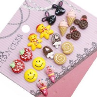 Color Cute Girl Fashion Stud Earrings for Teen Girls Kids Women, Pack of 9 Pairs