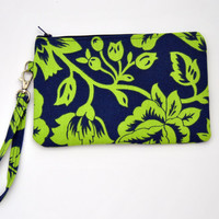 Navy Blue and Lime green wristlet / clutch / cosmetic bag / zippered pouch