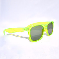 Electric Green Diffraction Glasses - Clear/Emerald lens