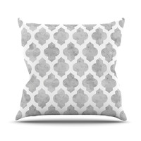 "Amanda Lane ""Gray Moroccan"" Grey White Throw Pillow"