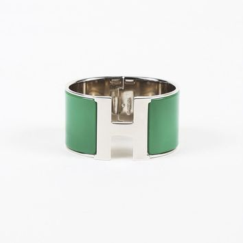 "Hermes Green Enamel ""Extra Wide Clic Clac PM"" Cuff Bracelet"