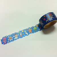 ROUND TOP / IC4DESIGN /  Masking Tape / rt-mk-040 / Rocket Astronaut  Outer space/  20mm x 5M