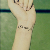 InknArt Temporary Tattoo - 2pcs COURAGE hand writing temporary tattoo wrist neck ankle quote tattoo small tattoo