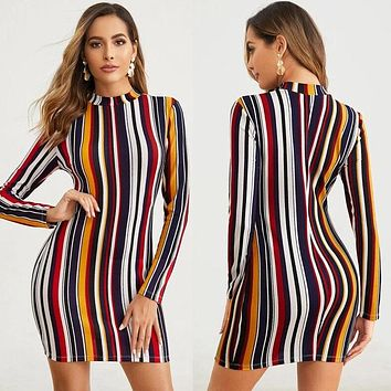 2020 new women's striped print mid-length dress