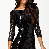 Black Long Sleeve with Deep V-Cut Back Sequined Bodycon Mini Dress