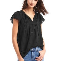 Scallop sleeve tassel top | Gap