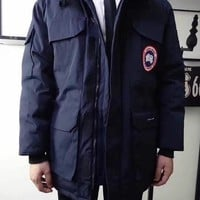 Canada Goose Long Jacket Navy Blue| Best Deal Online
