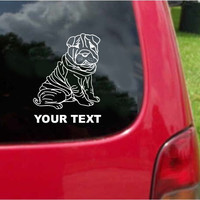 Chinese Shar-Pei Dog Sticker Decal with custom text 20 Colors To Choose From.