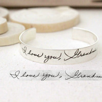 SALE Handwriting Cuff Bracelet - Engraved Signature Cuff - Handwriting Adjustable Bangle - Signature Bangle - Sympathy Gift -Mother's Gift