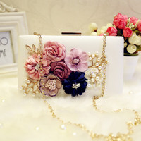 Women Bag New the chain the Appliques pattern flowers wedding dinner bags hot hand evening bags Purses Clutch Box package