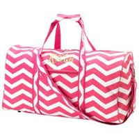 Personalized Chevron Duffle Bag - Color: Pink