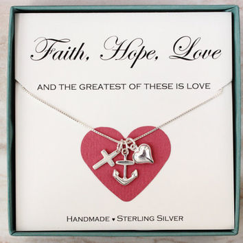 Faith Hope Love necklace, Sterling silver heart cross anchor charm necklace, Love necklace, wedding gift, gift for survivor, faith jewelry
