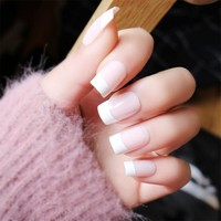 24pcs/Set Long Design Pink French False Nails Girl Nail Beauty Decoration Square Head Full Cover Artificial Fake Nails with Glue