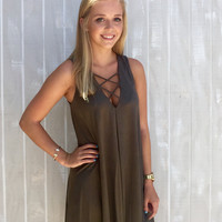 Criss-Crossin' My Mind Suede Dress - Olive