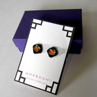 Tiger Studs Handmade Dichroic Glass Post Earrings, Fused Glass Stud Earrings by Umeboshi Jewelry Designs