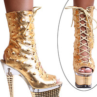 Spiky Leather Ankle Boots -7 Inch Heels-Stripper Boots
