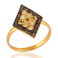 18K Yellow Gold Over Sterling Silver Pave Diamond Round Peridot Ring For Women