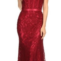 Eva Kind Of Love Burgundy Lace Strapless Maxi Dress