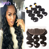 Online Shop Malaysian Body Wave With Frontal Closure Malaysian Virgin Hair With Frontal Closure Unprocessed Human Hair With Frontal Closure | Aliexpress Mobile
