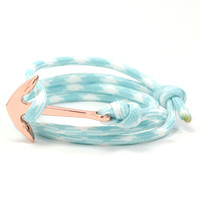 Copper Anchor on Aqua/White Rope