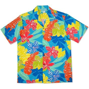 aloha spirit blue hawaiian cotton shirt