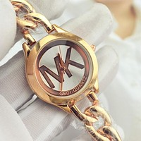 "Hot Sale ""Michael Kors"" MK Fashion Women Men Simple Letter Quartz Watch Temperament Wrist Watch Golden I-YF-GZYFBY"