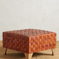 Leather Loom Ottoman by Anthropologie