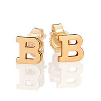 Large Solid 14k Gold Initial Stud Earrings