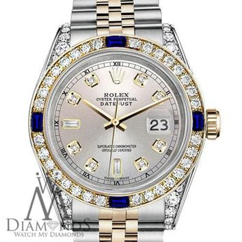 Rolex SS & Gold 36mm Datejust Watch Silver Dial with Sapphire & Diamond Bezel