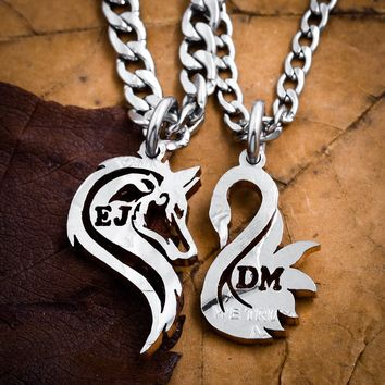 Wolf and Swan Necklaces, Custom Initials, hand cut coin