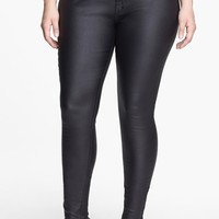 Plus Size Women's City Chic Wet Look Stretch Skinny Jeans,