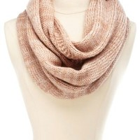 Chunky Sweater Knit Infinity Scarf - Dusty Pink Combo
