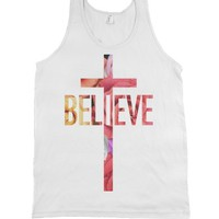 Believe (Floral)-Unisex White Tank